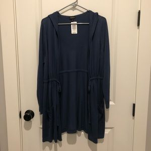 Torrid Blue Cinch Waist Cardigan With Hood Size 0